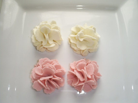 Wool Felt Flowers -  Set of 4 Ruffled Flower Puffs- Baby Pink and Ivory Ready To Ship