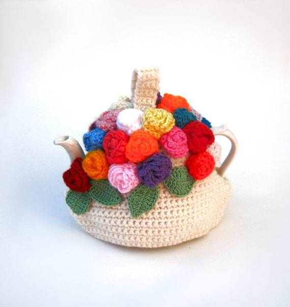 Crochet teapot cozy handmade tea cosy spring flowers in bright colors - Made to order