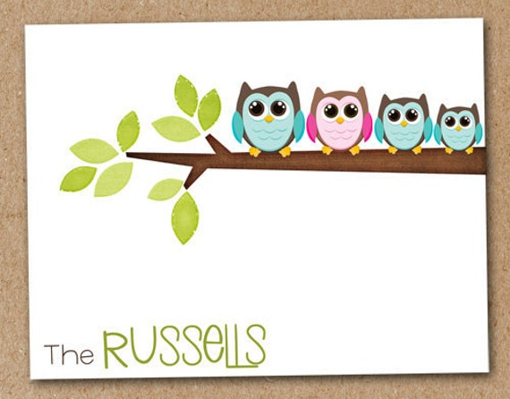 Owl Family Personalized Note Cards Stationery (set of 8)