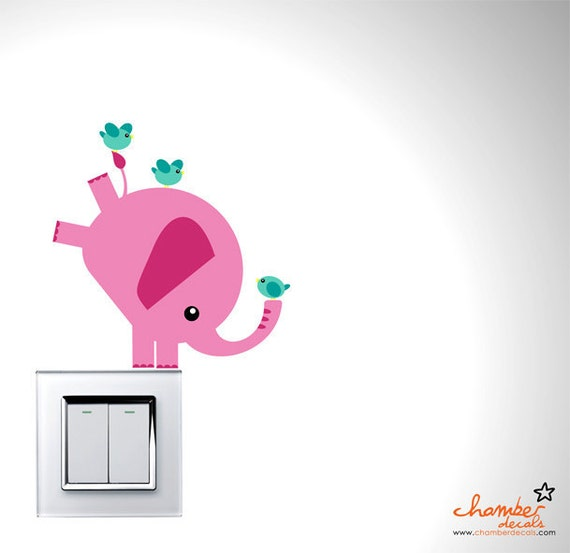 Cute Balancing Pink Elephant & Birds Wall Decal