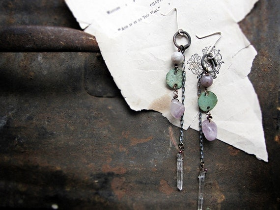 hydrotherapy - rustic assemblage earrings - quartz crystal - metal patina charms