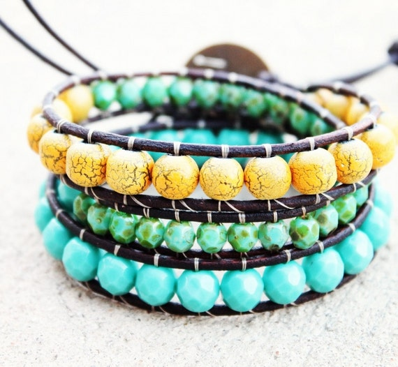 Multi Bright Statement Leather Wrap Bracelet 3x - free shipping plus 10% off w/ code NEWSHOP