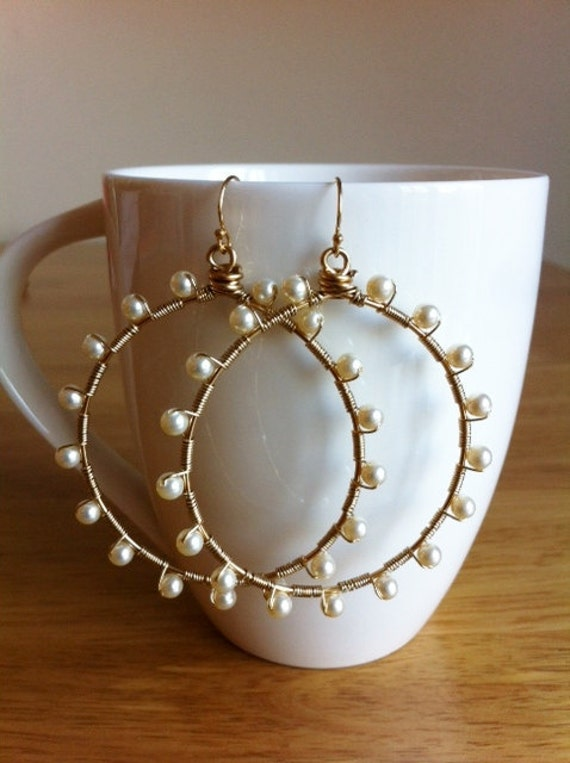 Sunburst Swarovski Cream Pearl wrapped hoops