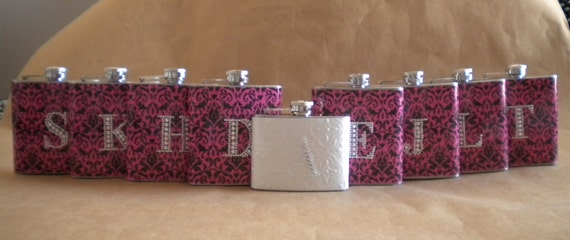 Wedding Party Special 8 Bridesmaids Gift Flasks and 1 Bridal Flask All with Rhinestone Initials KR2D 5137