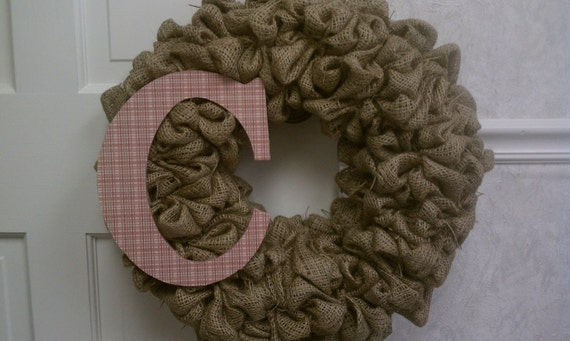 "24"" burlap wreath with initial"