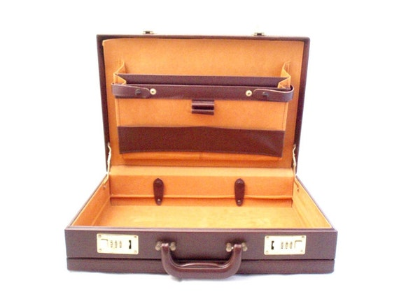 Vintage, Burgundy Leather Briefcase/Attache Case with Combination Lock circa 1980's