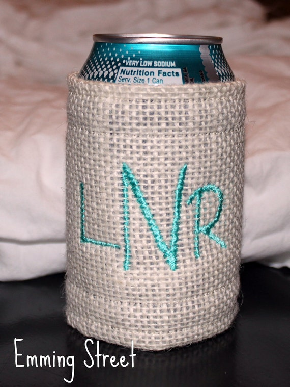 Monogrammed Burlap Drink Holder