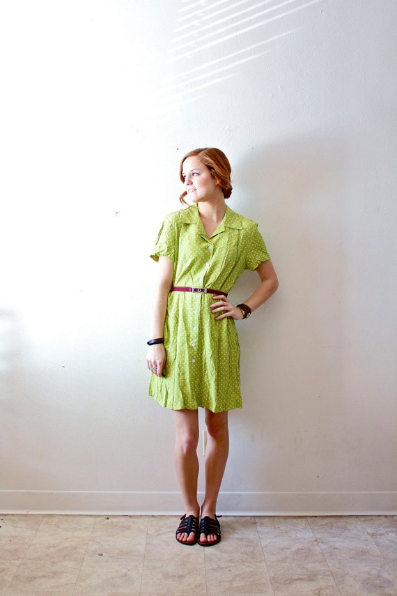Vintage green polkadot dress