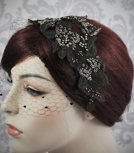 Black Birdcage Veil Vintage Style Bridal Headpiece with vintage silk