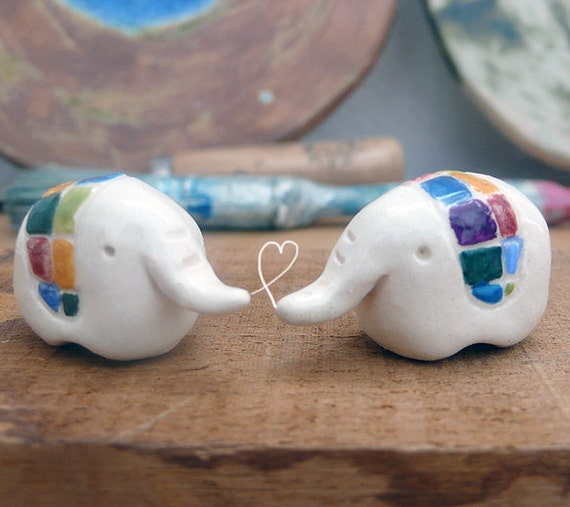Ceramic White Elephant Miniatures
