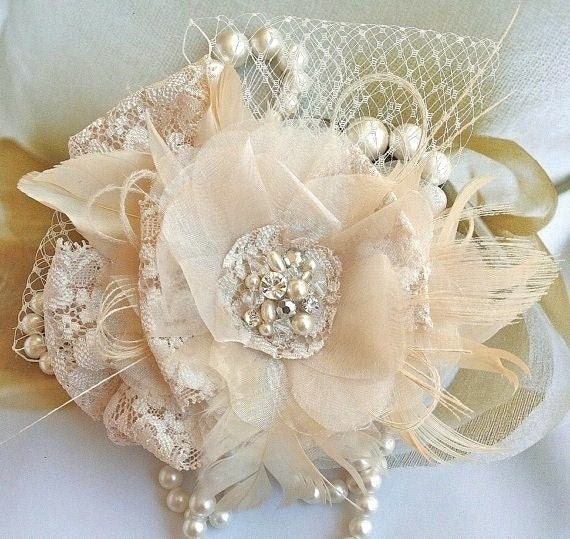 Bridal Fascinator, Bridal Hair Flower, Wedding Fascinator, Rhinestone Fascinator, Feather Fascinator, Wedding Headpiece, Beige, White, Ivory