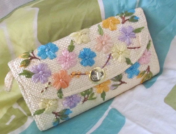 PURSE SALE Clutch Bag Spring Floral Straw Brights Vtg 70s Excellent Free U.S. Shipping
