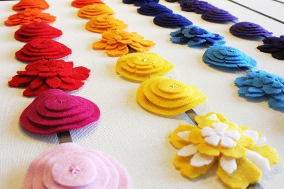 Felt Flower Hair Clip Accessory YOU CHOOSE soft pink, hot pink, red, orange, tangerine, yellow, light blue, blue, light purple, purple, gray