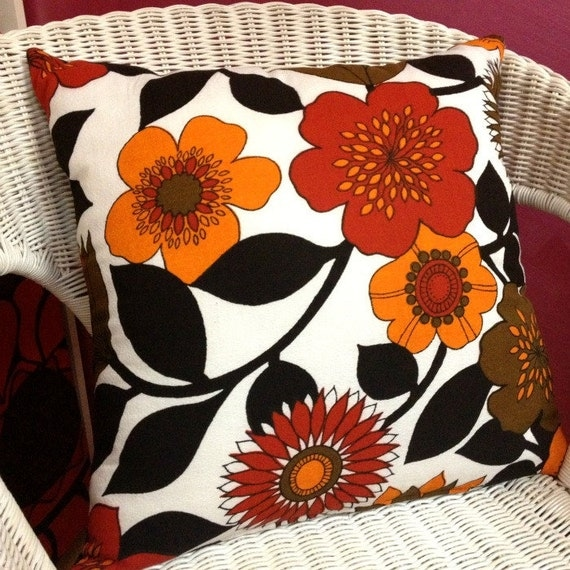 Original Vintage 1960s Fabric Cushions Flower Power Barkcloth