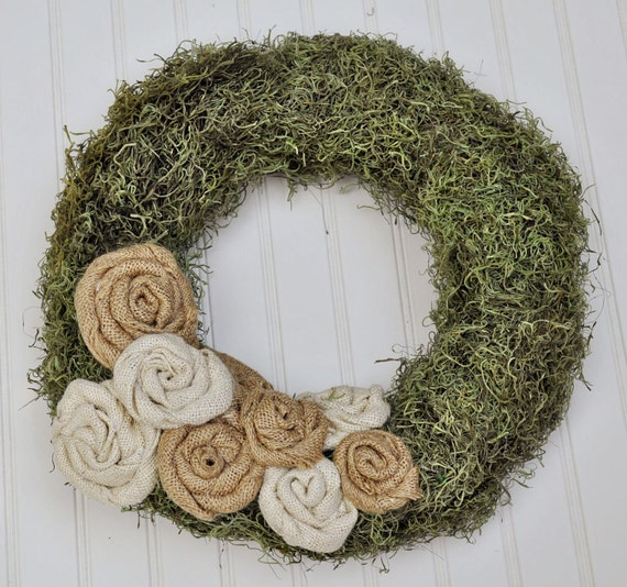 Moss Covered Wreath with Burlap Rosettes RESERVED