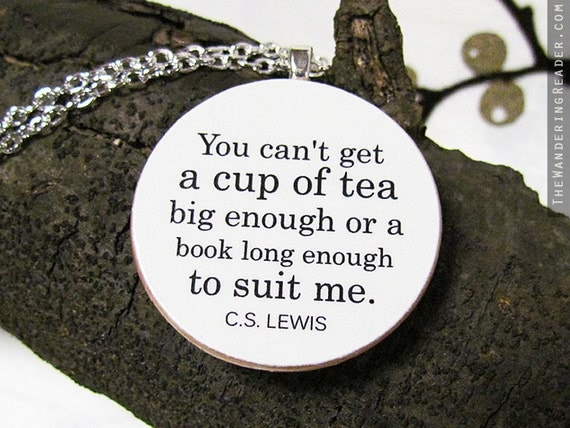 Literary Statement Necklace with Long Chain and Oversized Book and Tea Quote Pendant
