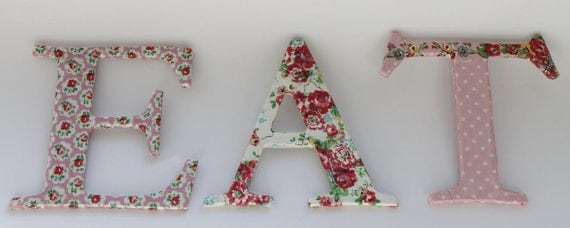 EAT letters. Decoupage with Cath Kidston paper. Shabby chic.