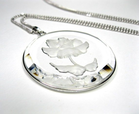 Vintage, 1960's, Crystal, Rose, Pendant, Necklace