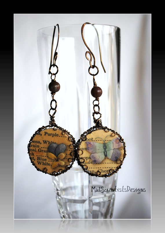 Butterflies and Flowers Earrings 001 Neo Victorian Nature Inspired by MadScientistsDesigns