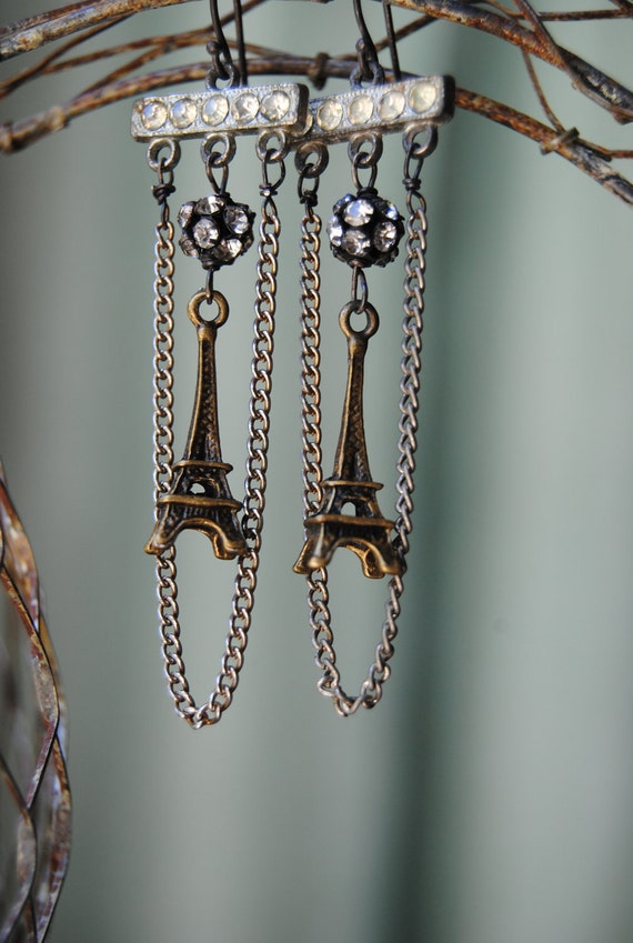 La Tour Eiffel - Vintage Сборка цепи Rhinestone французской Эйфелевой башни СЕРЬГИ