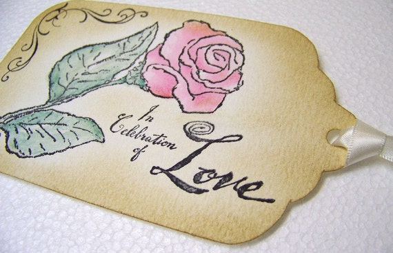 Wishing Tree Tags - In Celebration of Love - Handpainted Pink Rose - Wedding Tags - Favor - Decoration - Set of 5