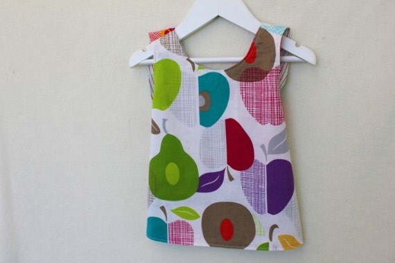 Reversible Girl's Dress/Pinafore. Patchwork Front, Cert Organic Reverse. Size 3-9months. One of a Kind Designer Print.