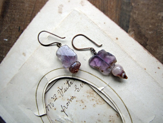 The empress - rustic amethyst slice earrings - tribal princess - delicate everyday jewelry