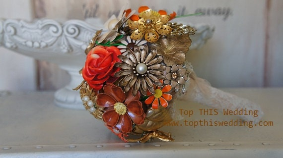 Vintage Brooch Bridal Bouquet - CUSTOM Made to Order - Large