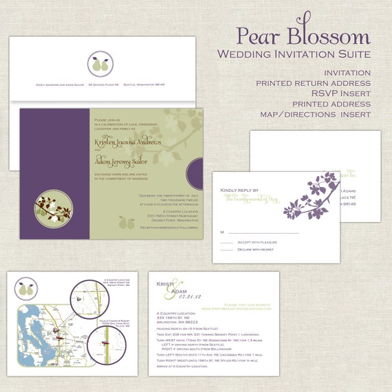 Wedding Invitation Pear Blossom Suite in Eggplant Purple and Sage Green