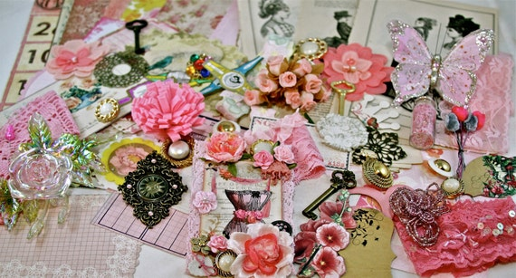 Only Pink Flowers for My Garden Project Embellishment Scrapbooking Altered Art KIT