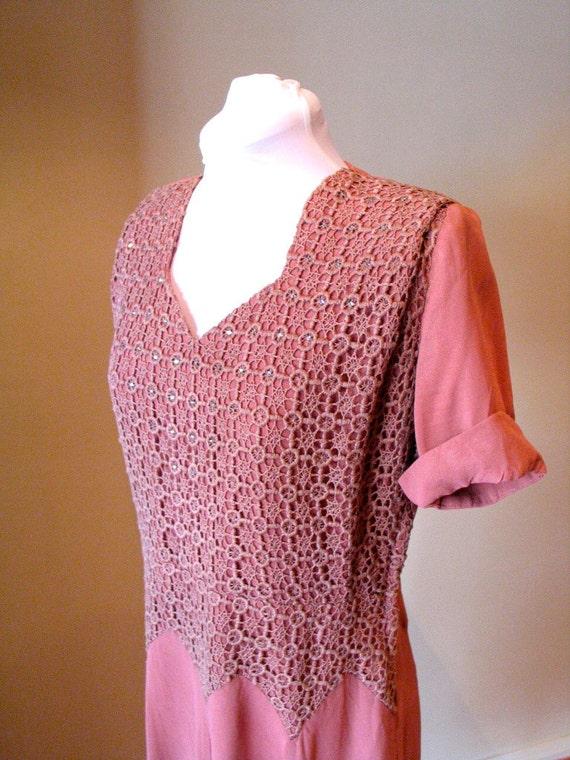 Vintage Early 1940s Sparkling Lace Bodice Dress - L
