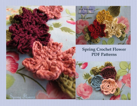 2 PDF Patterns- Spring Crochet Flowers