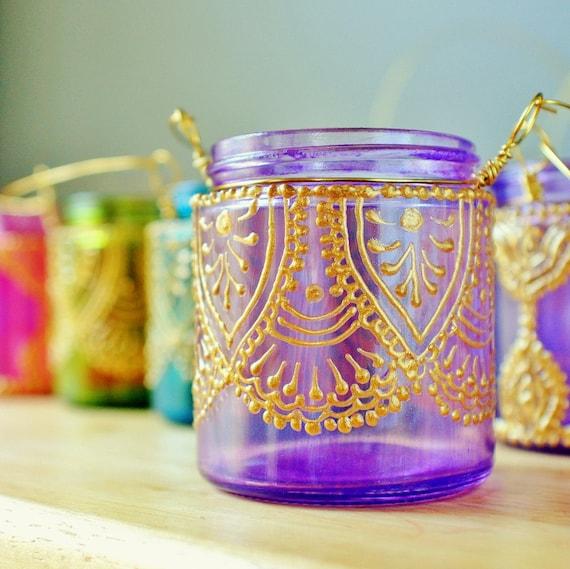 Подвесной подсвечник Вдохновленный Фонари Марокко, лаванды Тонированные стекла с золотой Акценты