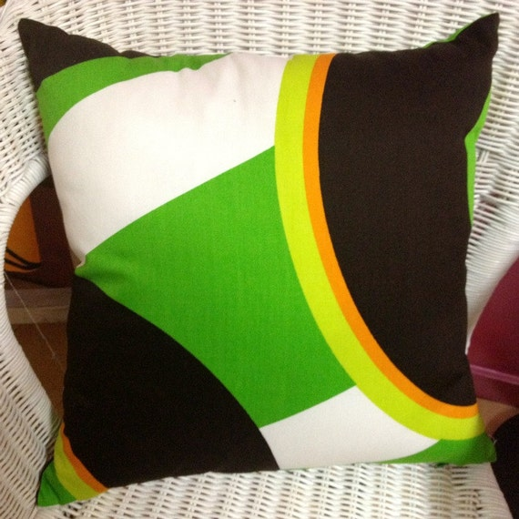Original Vintage 1970s Fabric Cushions Green Out