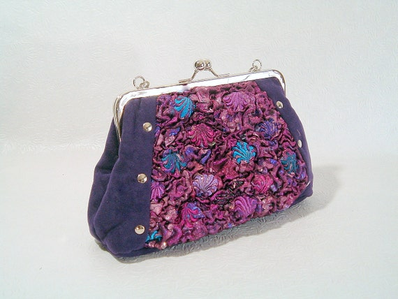 Unique Handbag Handmade Fabric with Recycled Items Purple and Blue and Rivet Accents Steampunk Style