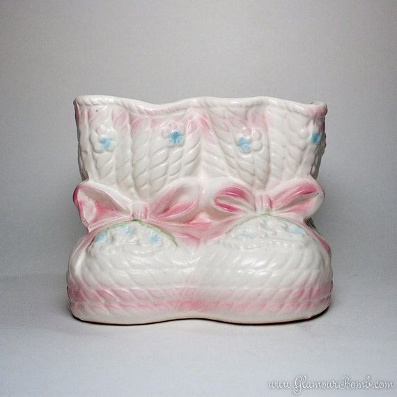 Vintage Relpo Pink Baby Girl Booties Planter Vase - 1352M - Made in Japan