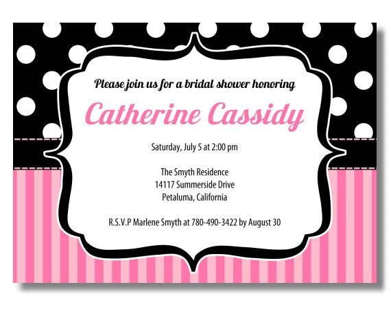 Printable Wedding Shower Invitation Black and white polka dots