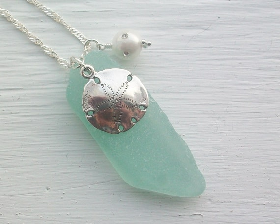 Sterling Silver Sand Dollar and Scottish Sea Glass Necklace ....... DRIFT AWAY