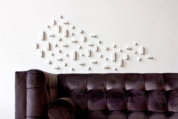 Clay Architecture Wall Installation - Ceramic clay houses by Artisanie Europe - pure white home decor modern wall art