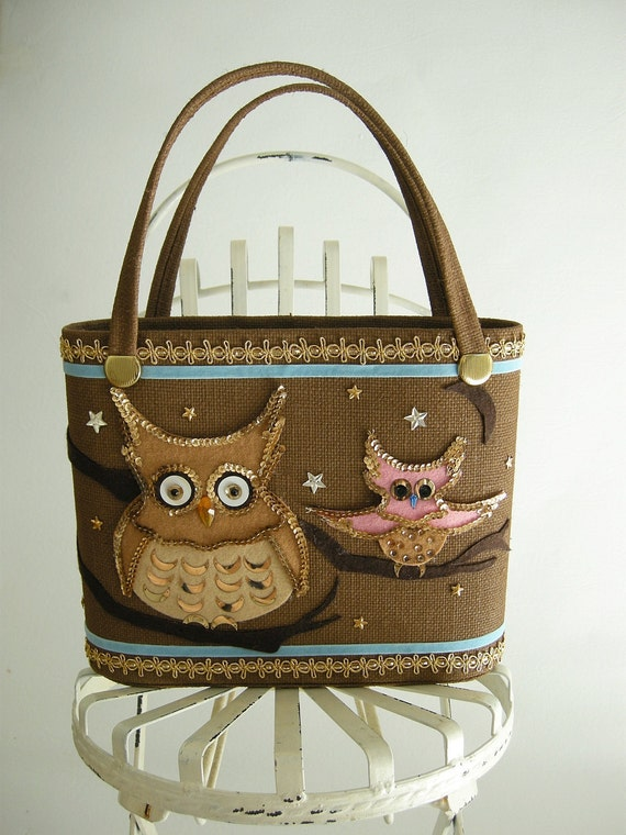 Owl Applique Vintage 60s Market Tote Handbag Brown by empressjade from etsy.com
