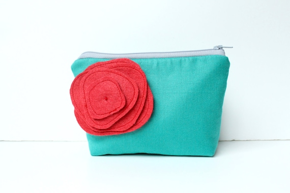 Cosmetic Bag Zipper Pouch - Ocean with Red Poppy Brooch Pin