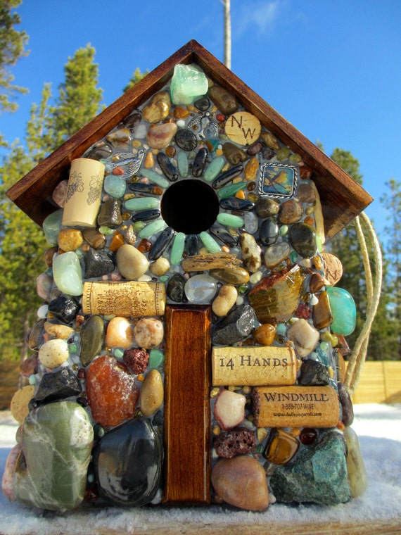 Birdhouse Large Mosaic Stone and Wine Cork