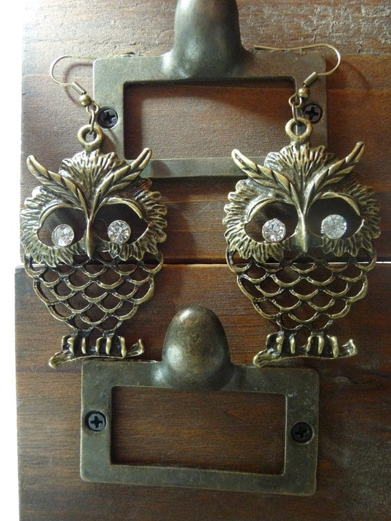 Antique Bronze Owl with Rhinestones Dangle Earrings by vintagerust