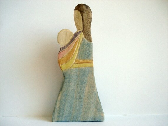 Wooden Babywearing Figure - Front Wrap Cross Carry - Rainbow Wrap