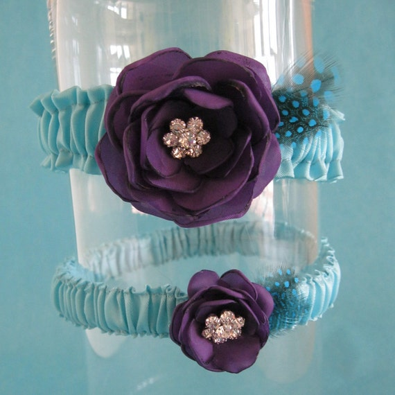 Tiffany Blue and Dark Purple Feather Rose Wedding Garter Set D022 bridal