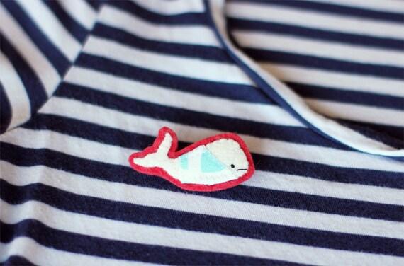 Whale Brooch Felt Pin - Cousteau - Cute Nautical Accessories - White Whale