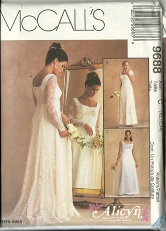 1998 McCalls Misses LIned Gown Wedding Dress Pattern Pattern 9688 Size C