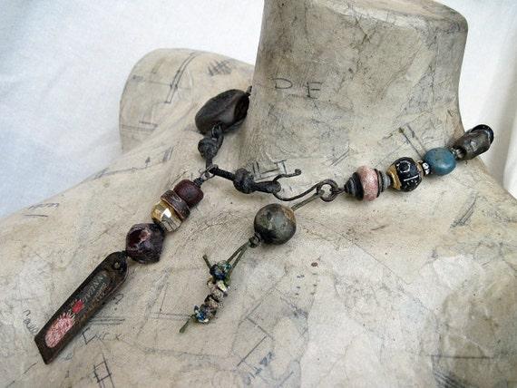 Dream of Existing. Primitive Rustic Choker with Ceramics, Garnet Roman Glass, Antique Tag, Pyrite.
