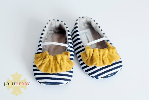 JANEY baby girl shoes - navy blue and white stripe with yellow ruffle