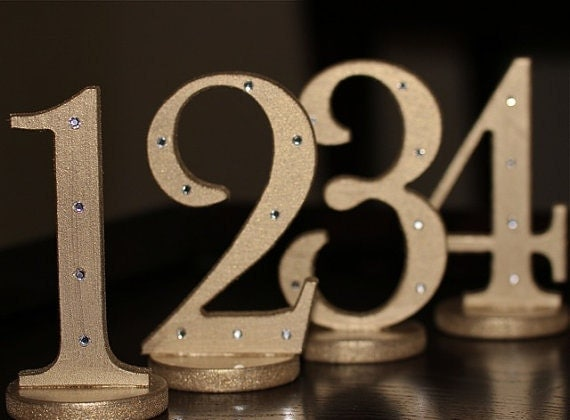 Gold Bling Wedding Table Numbers for Weddings and Parties